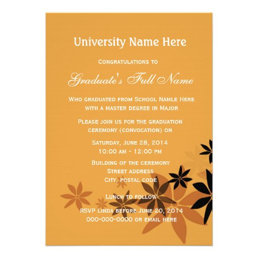 Invitations for graduation ceremony (convocation) custom announcements