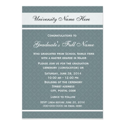 Invitations for graduation ceremony (convocation) personalized announcement
