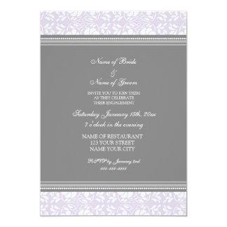 Invitations grises lilas de partie de fiançailles