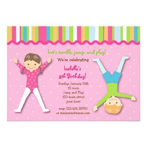 Invitations gymnastiques de fête d'anniversaire de