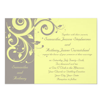 Invitations inverses jaunes et grises de mariage