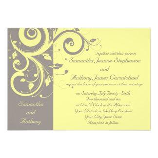 Invitations inverses jaunes et grises de mariage d