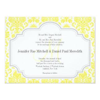 Invitations jaunes du monogramme M mariage damassé