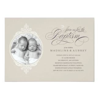 Invitations jumelles de photo de baptême