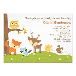 Invitations mignonnes d animal de région boisée