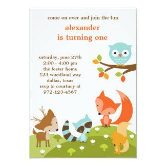 Invitations mignonnes d'animal de région boisée carton d'invitation  12,7 cm x 17,78 cm