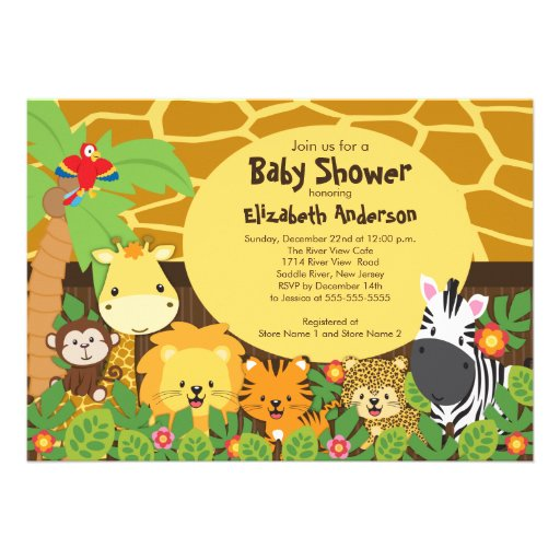 Invitations mignonnes de baby shower d'animaux de