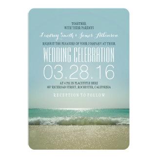Invitations modernes de mariage de plage avec la