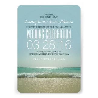 Invitations modernes de mariage de plage avec la m