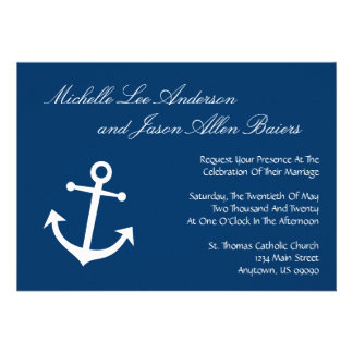 Invitations nautiques de mariage d'ancre de bateau
