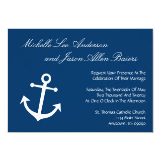 Invitations nautiques de mariage d'ancre de bateau carton d'invitation  12,7 cm x 17,78 cm