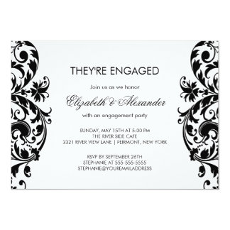 Invitations noir et blanc de partie de fiançailles