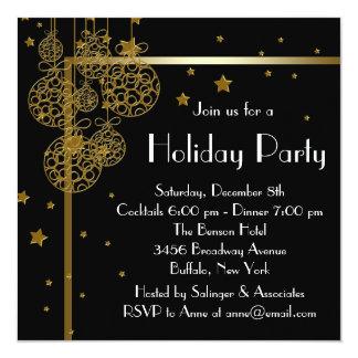 Invitations noires élégantes de fête de Noël d'or