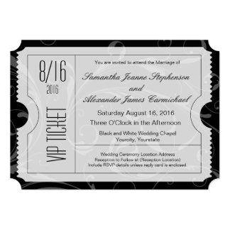 Invitations noires et blanches de billet de