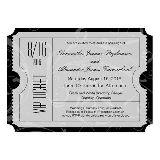 Invitations noires et blanches de billet de mariag