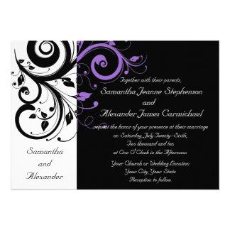 Invitations noires et blanches de mariage de remou