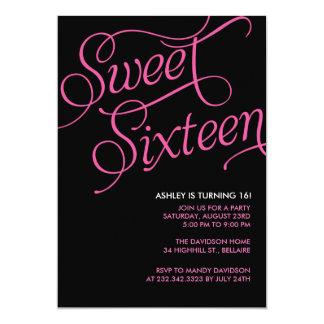 Invitations noires formelles du bonbon 16 carton d'invitation  12,7 cm x 17,78 cm