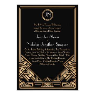 Invitations noirs de mariage de style de Gatsby Carton D'invitation 12,7 Cm X 17,78 Cm