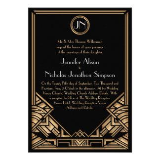 Invitations noirs de mariage de style de Gatsby d