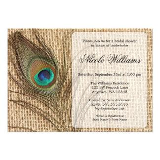 Invitations nuptiales de douche de plume de paon d