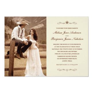 Invitations occidentales vintages de mariage de