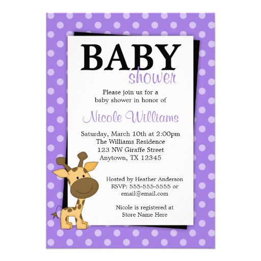 Invitations pourpres de baby shower de girafe de p