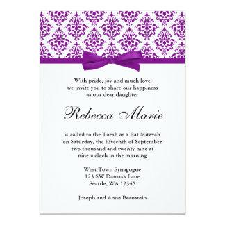 Invitations pourpres de bat mitzvah d'arc de ruban