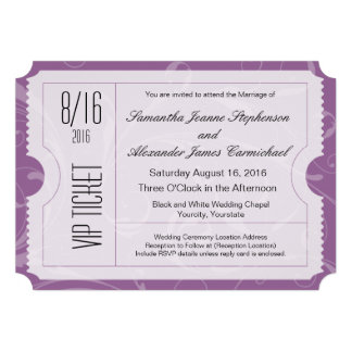 Invitations pourpres de billet de mariage de VIP