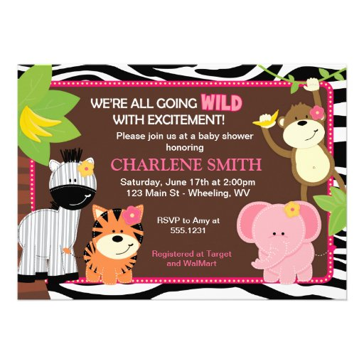 Invitations roses de baby shower de jungle d'impre