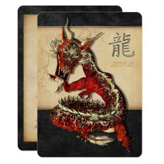 Invitations rouges chinoises de milieu de dragon