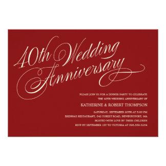 Invitations rouges d anniversaire de mariage