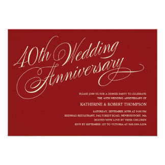 Invitations rouges d'anniversaire de mariage