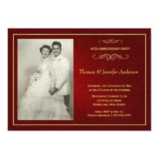 Invitations rouges d'anniversaire de mariage -