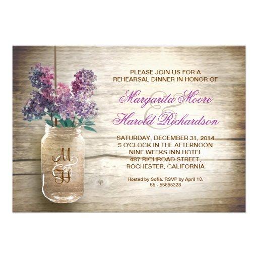 invitations rustiques de dîner de répétition de po