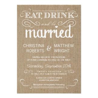 Invitations rustiques de mariage campagnard de toi