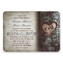 Invitations rustiques de mariage d'arbre
