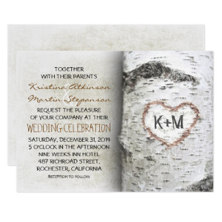 Invitations rustiques de mariage d'arbre de