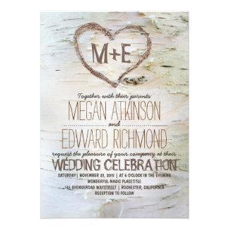 Invitations rustiques de mariage de coeur d arbre