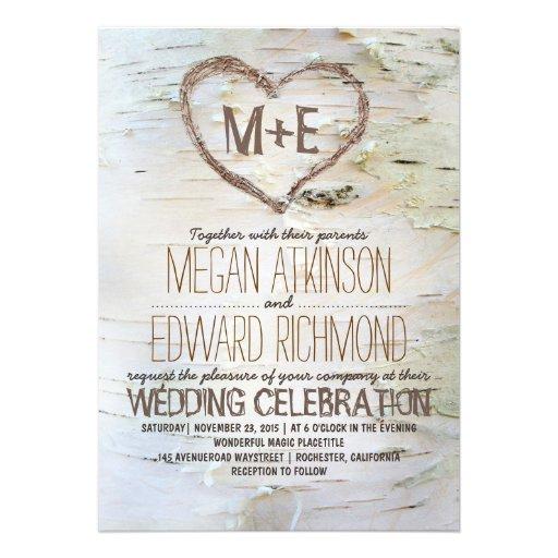 Invitations rustiques de mariage de coeur d'arbre