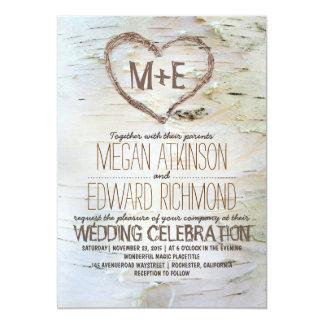 Invitations rustiques de mariage de coeur d'arbre carton d'invitation  12,7 cm x 17,78 cm
