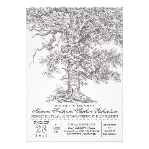 Invitations rustiques de mariage de vieux chêne vi
