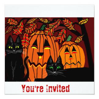 invitations to halloween party black cats pumpkins