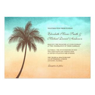 Invitations tropicales de mariage de palmier de pl