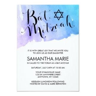 Invitations turquoises pourpres de bat mitzvah