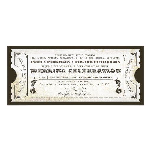 invitations vintages de billet de beau mariage