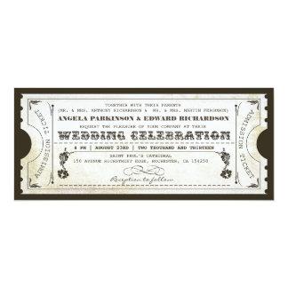 invitations vintages de billet de beau mariage carton d'invitation  10,16 cm x 23,49 cm