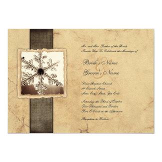 Invitations vintages de mariage de flocon de neige