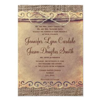 Invitations vintages de mariage de toile de jute