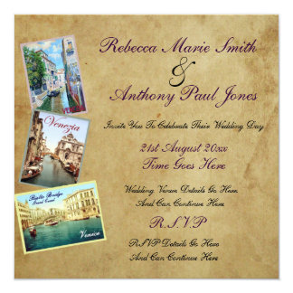 Invitations vintages de mariage de Venise