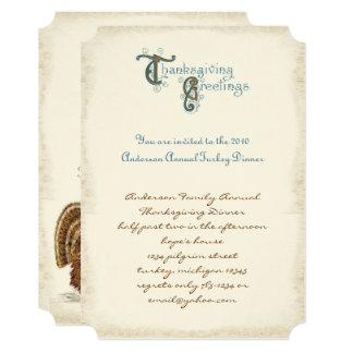 Invitations vintages de récolte de thanksgiving de